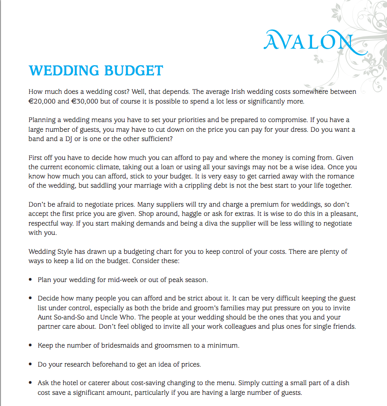 Wedding budget planner guide Ireland